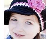 Children's CandyStripe Newsgirl Beanie - black, fuchsia, white, pastel pink