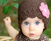 Baby Daisy Flapper Beanie - chocolate, pastel pink, rose pink
