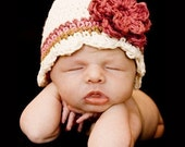 CLEARANCE 12-24 Month CandyStripe Flapper Beanie - vanilla, dark rose, rose pink, army tan