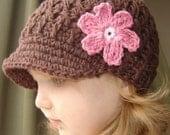 Children's Daisy Visor Beanie - chocolate, pastel pink, rose pink