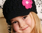 Baby Daisy Visor Beanie - black, pastel pink, fuchsia