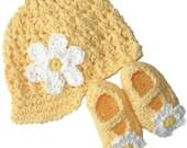 Baby Daisy Visor Beanie and Maryjane Set  - banana, yellow, white