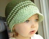 CLEARANCE 12 to 24 Month Visor Beanie - olive, celery