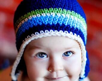 Children's Earflap Beanie - navy, light sage, eggshell, light blue