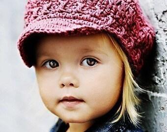 Children's Newsgirl Beanie - dark rose