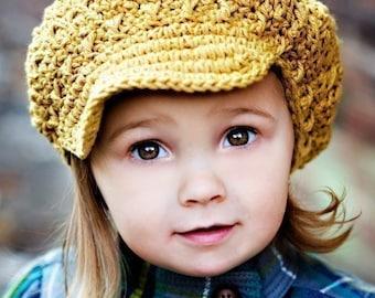 Children's Newsgirl Beanie - mustard