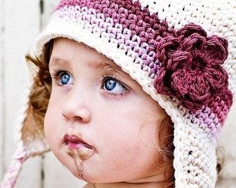 Children's Flowered Earflap Beanie - vanilla, dark rose, rose pink, pastel pink