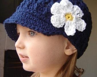 Baby Daisy Visor Beanie - navy, yellow, white