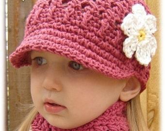 Children's Daisy Visor Beanie - dark rose, yellow, white