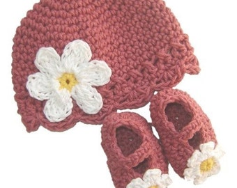 Baby Flapper Beanie and Maryjane Set  - dark rose, yellow, white