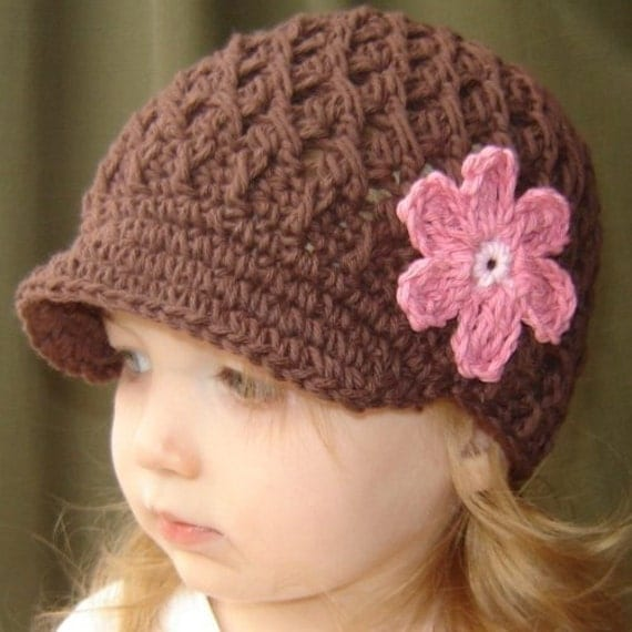 12 to 24 Month Daisy Visor Beanie - chocolate, pastel pink, rose pink