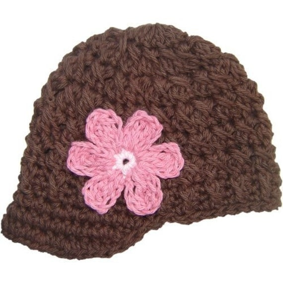 3-6 Month Flowered Visor Beanie - brown, pastel pink, rose