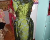 Vintage 60's Shimmery Green Wiggle Cocktail Dress  Mad Men