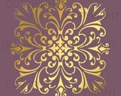 Large Wall Damask Stencil Pattern Faux Mural 1020