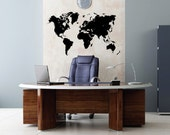 """Size 75""""W x 43""""H  Global World Atlas Map Vinyl Wall Decal Easy to Apply Removable Sticker  N1601"""