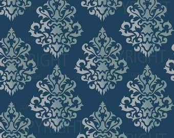 Large Wall Damask STENCIL Pattern FAUX  MURAL 1011