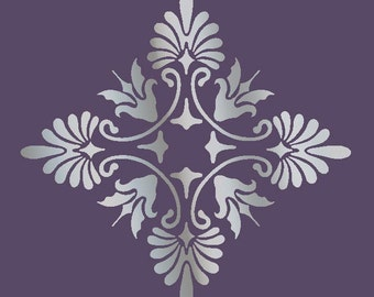 Large Wall Damask STENCIL Pattern FAUX  MURAL 1017