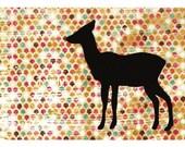 Deer Silhouette Print 5 x 7 - LEFT Facing Deer