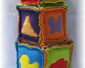 Bright Soft Texture Blocks - Set of Three - Baby or Toddler