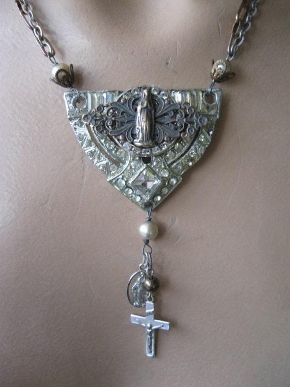Forever and Ever Amen... vintage paste religious medallion repurposed rosary necklace