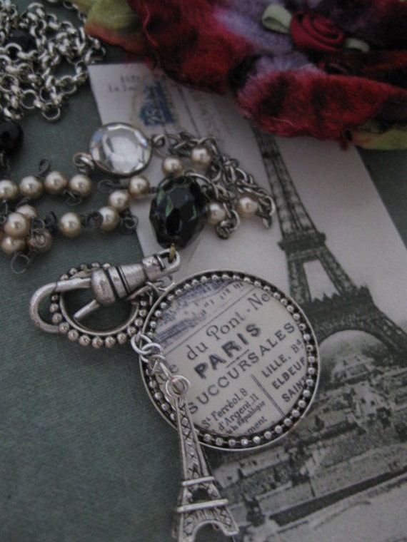Long Reversible Paris Vintage Repurposed Necklace