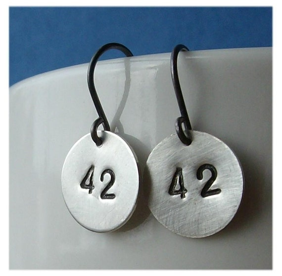 42 Stamped Earrings - Answer to Life, the Universe, and Everything - Paw & Claw Designs