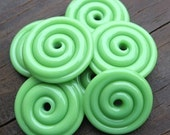 Nile Green Lampwork Glass Disc Beads-Set of 6