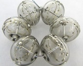 Gray and Silver Droplet Lampwork Glass Hollow Beads