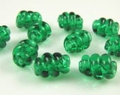 Emerald Green Corkscrew Swirl Lampwork Glass Beads-Set of 10