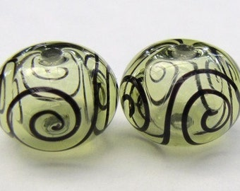 Mojito and Black Scroll Hollow Glass Bead Pairs