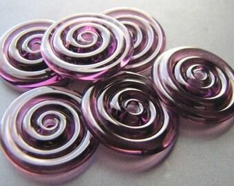 Transparent Purple Lampwork Glass Disc Beads-Set of 6