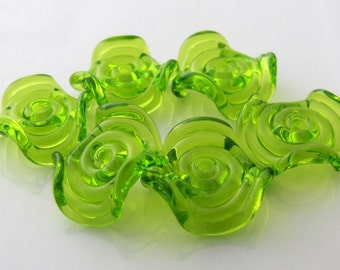 Transparent Lime Ruffle Glass Disc Beads