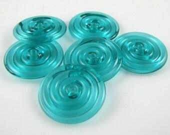 Transparent Teal Lampwork Glass Disc Beads- Set of 6