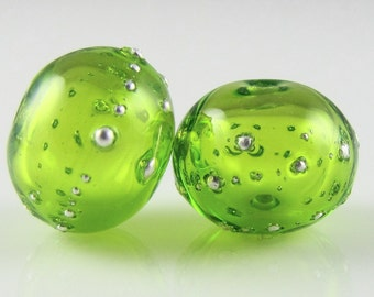 Lime Fine Silver Droplet Hollow Lampwork Glass Bead Pairs
