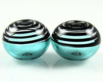 Teal Black Glass Swirls Lampwork Bead Pairs