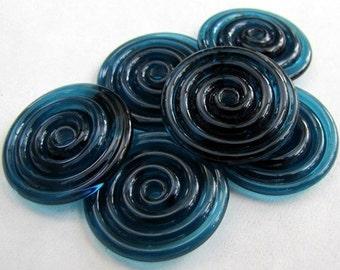 Dark Ink Blue Lampwork Glass Disc Beads-Set of 6