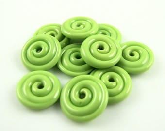 Pea Green Mini Lampwork Glass Spacer Disc Beads-Set of 10