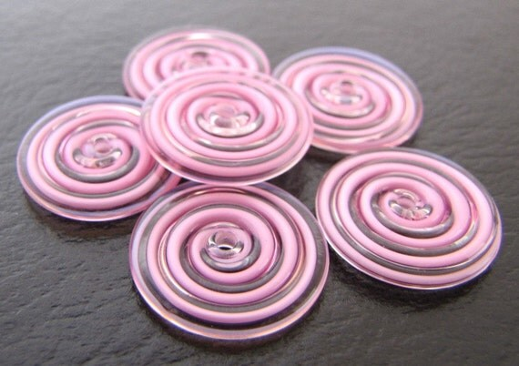 Pink and Clear Swirl Glass Disc Beads Set of 6
