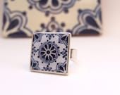 Mexican Ring, Talavera tile miniature, sterling silver, adjustable, Southwest chic, Day of the dead, Dia de los Muertos jewelry