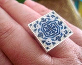 Portuguese Ring, Iberian Gypsy, adjustable, Spanish influence, cocktail ring, majolica style, Portuguese tile pattern, Spanish Jewelry