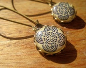 Portuguese jewelry, Iberian tiles of Portugal and Spain, Ethnic, Moorish and Berber influenced cabochon, dangle earrings, world traveler