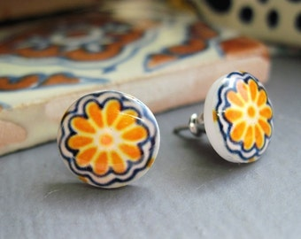 Mexican Jewelry, Southwestern earrings, Miniature Mexican Talavera tile design, Post Earrings, Yellow gold marigold flower