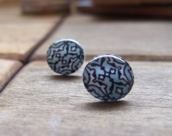 Arabic and Middle Eastern Jewelry, theological art, Islamic ceramic tile design post earrings, miniature reproductions,