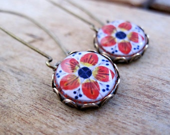 Mexican Talavera tile folk art cabochon, handmade, Antique oxidized brass kidney wires, long dangle earrings, free gift wrap