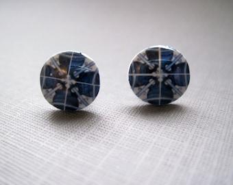 Gypsy Post Earrings, Decorative Portuguese ceramic tile design, Moroccan, Blue post earrings, Portuguese jewelry