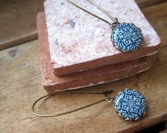 Islamic tile cabochon, handmade, Antique oxidized brass kidney wires, Islamic jewelry, blue earrings, ethnic earrings, ethnic jewelry
