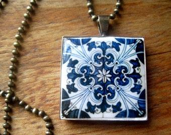 Portuguese wedding, Blue and white, Iberian ceramic tile pattern, Azulejos, Hispanic folk art pendant, Spain, Portugal, bronze necklace, MTO