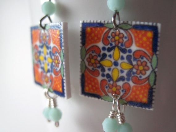 Sale, Earrings, For people who love Mexican Decorative tiles, Handmade