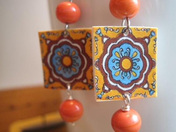 Cinco de Mayo celebration, Mexican tile earrings, vintage beads, Bohemian, orange earrings