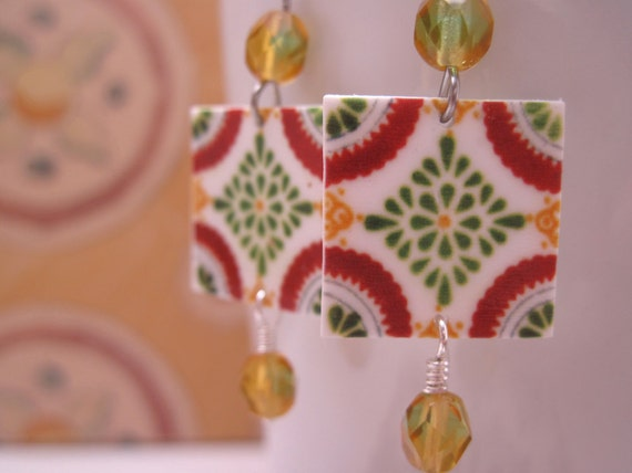 SALE, Mexican Talavera tile earrings, green and amber glass beads, Boho earrings, Tribal, Southwestern earrings